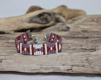 Bracelet, cuff of glass beads 10/0, boho style, bohemian