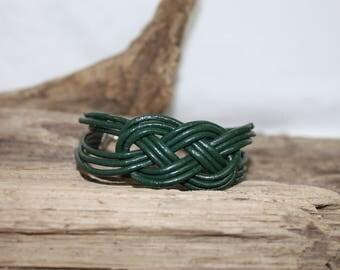 Leather bracelet green dark bottle