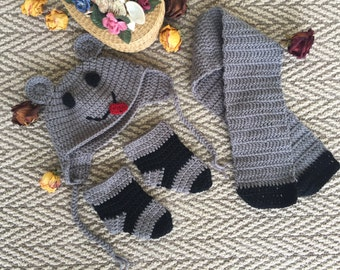 Grey Handmade Knitted Baby Hat-Scarf-Bootees Set