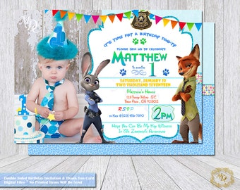 Zootopia Birthday Invitation.Zootopia Thank You Card.Photo Invitation.Zootopia Party Theme.Party Invitations.Zootopia.Party Supplies.invite.