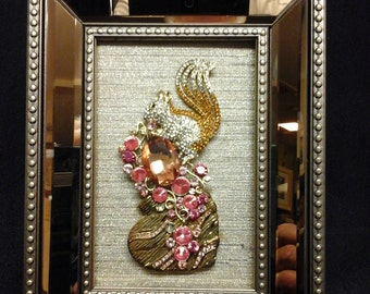 "Gold framed jewelry design 6.5 X 7.5"""