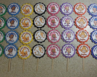 32 BUBBLE GUPPIES Cupcake Toppers PERSONALIZED - Picks Party Favors