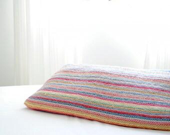 Pillow cover. Handmade pillow. Throw Pillow. Decorative pillow. Multicolor knit pillow 45x45cm. Knitted pillow cover. Baby Pillow. Kids.