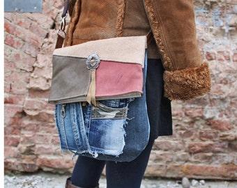 Leder/Jeans Messenger Bag - Upcycling