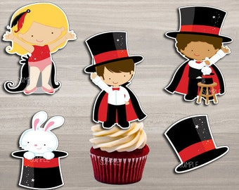 INSTANT DOWNLOAD Magic Party , Cupcake toppers , Magic Party Decorations