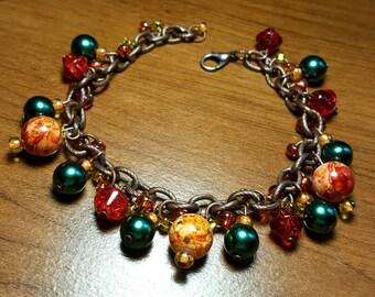 Handmade Autumn themed Beaded Copper Chain Bracelet