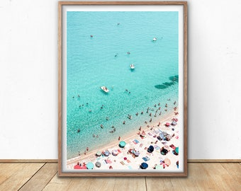 Beach Art Print, Areal Beach, Printable Wall Art, Beach Photography, Modern Minimal, Umbrella Print, Seaside Art, Teal Art, Digital Download