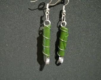 Mottled green, silver wire wrapped earrings