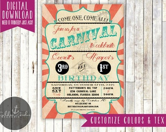 Carnival Birthday Invitation, Carnival Invitation, Carnival Party, Circus Birthday Invitation, Vintage - Printable DIY
