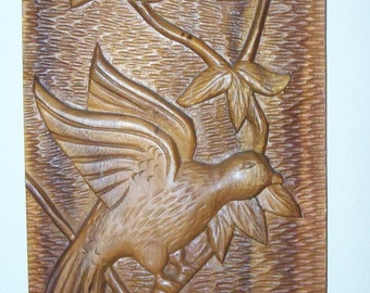 Hand-carved Wooden Bird Plaque