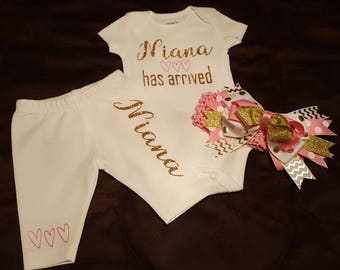 Personalized, Monogramed, Baby Girl Pink & Gold Newborn 3 Piece Set, Baby Shower Or Coming Home Outfit...Super Adorable!