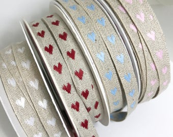 Linen heart ribbon, embroidered ribbon , cotton linen ribbon, twine, Bertie's bows, craft ribbon, sewing ribbon, sold by the meter