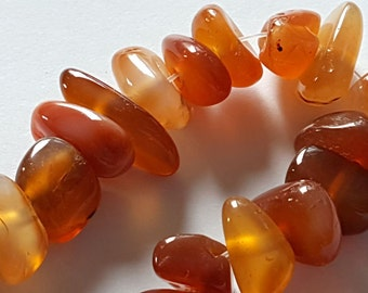 "Red Agate gemstone nuggets beads 16"" strand"