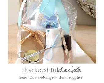 Bride emergency kit, wedding day kit, bridal shower gifts for bride, gift for bride, bridesmaid gift, mother of the bride, something blue