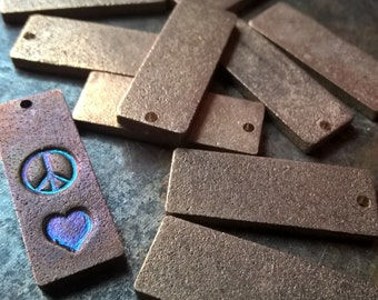 Bronze Blanks,  Metal Stamping Blanks, Rectangle Blanks, Antiqued Pure Bronze Metal, Jewelry Pendants, Blank Stamping Tags