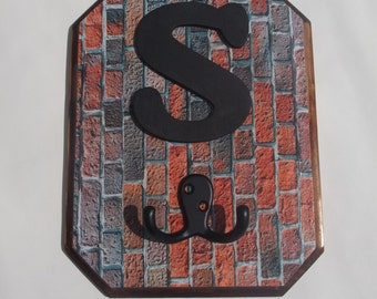 Monogram Letter Wall Hook Red and Gray Brick Pattern