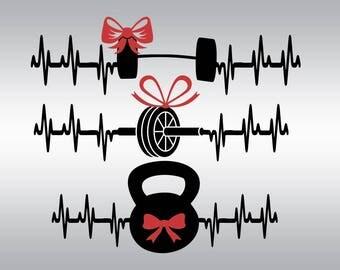 Gym svg, Crossfit svg, Crossfit Weights svg, Heartbeat svg, Workout svg, Fitness svg, Cricut, Cameo, Cut file, Clipart, Svg, DXF, Png, Eps
