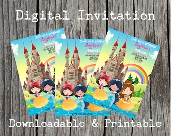 Disney Princess inspired Party Invites. Download and Print as many as you require