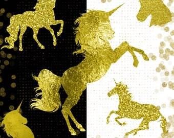 Gold Unicorn Clipart, Unicorn Head Clipart, Cute Unicorn Clipart, Gold Foil Clipart Unicorns, Free Commercial Use, Transparent Background
