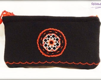 Small padded pouch - modern embroidery - black and red - to store your glasses, phone, makeup, pens, etc.