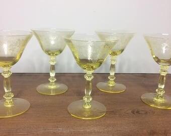 "Cambridge Apple Blossom - Yellow Set of 5 Champagne / Tall Sherbet 5-5/8"""
