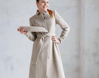 Woman midi coat, beige coat, wool coat, spring coat, slim fit coat