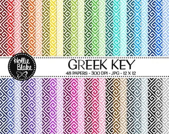 Buy 1 Get 1 Free!! 48 Greek Key Digital Paper • Rainbow Digital Paper • Commercial Use • Instant Download • #GREEK KEY-101