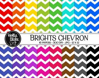 Buy 1 Get 1 Free!! 16 Bright Chevron Digital Paper • Rainbow Digital Paper • Commercial Use • Instant Download • #CHEVRON-122-2-B