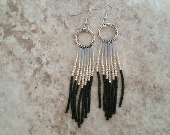 Fringe, Shoulder, Duster, Earrings, Native, American, Inspired, boho, black, silver, frosted, frost, frosted white