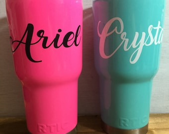 Vinyl name decal sticker for Yeti Rtic tumbler cup