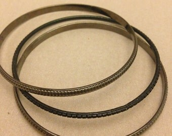 Vintage Dark Metal Bangle Bracelets