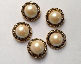 5 vintage gold pearl buttons