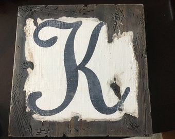 Rustic letter sign
