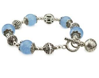 Aqua Aura Beaded Bracelet