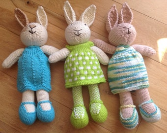 Hand made knitted rabbits