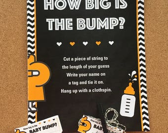 How Big is the Bump? Coed Baby Shower Game, Guess the Size of the Belly, Baby Shower Game, Guess the size of the belly, Belly String Game