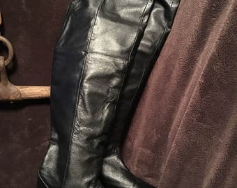 Womens black over knee or foldable flat bottom bakers boots black riding boots size 10 m