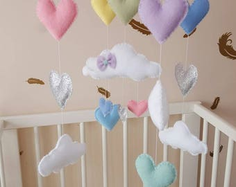 Heart cloud mobile, Pastel baby mobile, glitter heart baby mobile, baby girl mobile, baby shower gift