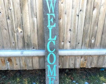 Welcome sign | front porch sign, front porch decor, wood sign, wood welcome sign, large welcome sign, front porch welcome sign, outdoors