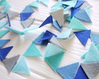 Mini bunting, blue and grey felt garland. Party bunting, birthday garland, baby shower decor. Fathers day decor. Reusable party decoration.