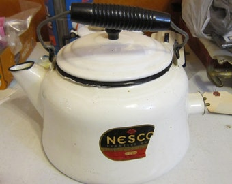 Vintage Nesco Enamel Electric White Tea Pot Tea Kettle