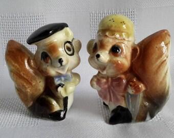 Anthropomorphic Ceramic Squirrels Salt & Pepper Shakers, Japan c.1950