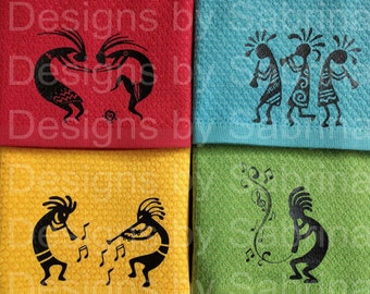 KOKOPELLI TOWELS-Kokopelli Dish Towel-Music Dish Towels-Southwest Dish Towels-Native American-Southwest Indian