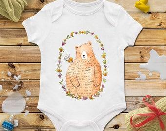 Summer bear baby onesie, Summer bear baby shower, Baby shower boy, Baby shower girl, Present for newborn, Gift for newborn, Watercolor, Bee