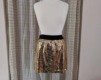 1970/80s Gold Sequined mini skirt/medium to large