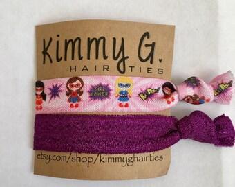 Super hero girl power elastic hair ties. FOE, party favors, super hero party favors, birthday party favors, kid hair ties, girl power