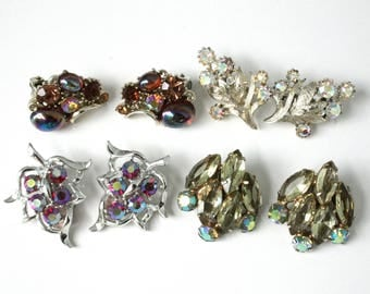Vintage Rhinestone Clip On Earrings Lot , Aurora Borealis, Lisner, Coro, Juliana, Sarah Coventry