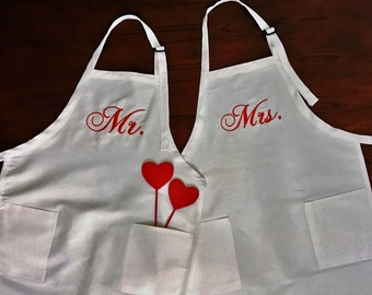wife aprons, Set of two,personalized apron, monogrammed apron, bridal shower apron, MRS. apron, bride apron,