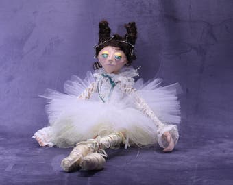 ballerina marionette, puppet art, made in hand, paper mache, tutu