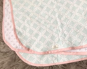 Mint & Pink Flannel and Minky Baby Blanket